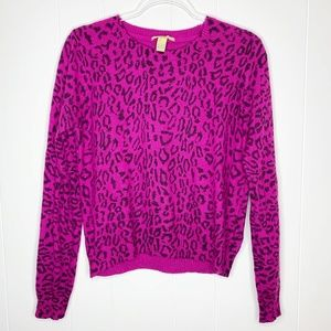 Forever 21 Animal Print Angora Blend Sweater L